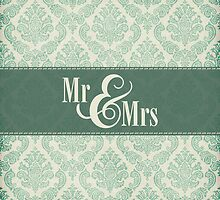 "Green Damask ""Mr & Mrs"" by SimplyPut"