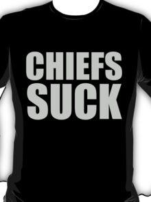 Oakland Raiders - CHIEFS SUCK - Silver Text T-Shirt