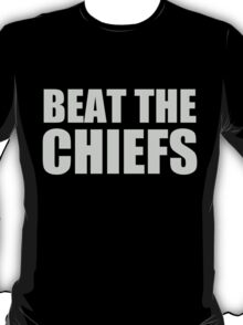 Oakland Raiders - BEAT THE CHIEFS - Silver Text T-Shirt