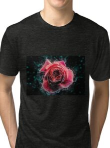 Pink English rose as seen from above  Tri-blend T-Shirt