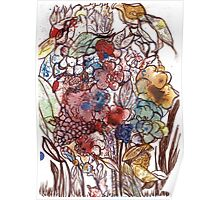 Abstract Dark Florals Poster