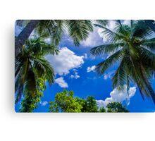 The Palm Sky Blue Canvas Print