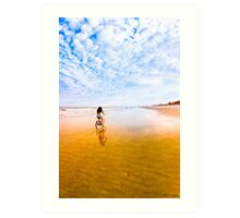 Betwixt Sea and Sky  - Golden Light On Beach at Tybee Island Art Print