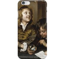 Adriaen Hanneman - Two Boys Blowing Bubbles. Boys portrait: Boys, children, curly hair, smile,  joy, happiness, delight, game, play, blowing iPhone Case/Skin
