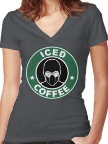 Mortal Kombat •Sub Zero •Iced Coffee Women's Fitted V-Neck T-Shirt