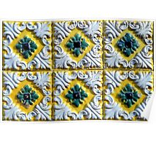 Raised white swirls and green flowers on Portuguese azulejos Poster