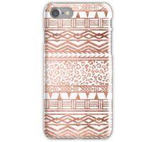 Modern rose gold leopard geometric aztec pattern iPhone Case/Skin
