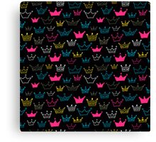 Bright crowns on black background. Canvas Print