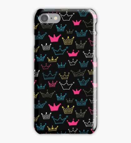 Bright crowns on black background. iPhone Case/Skin