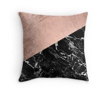 Chic modern rose gold black marble color block Throw Pillow