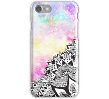 Modern watercolor nebula white floral mandala  iPhone Case/Skin