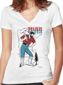 Marvelous Minnesota Women's Fitted V-Neck T-Shirt