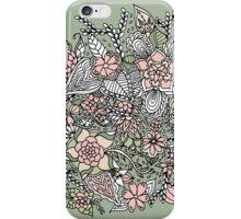 Modern floral pattern pink green hand drawn iPhone Case/Skin
