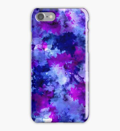 Modern blue purple watercolor brushstrokes iPhone Case/Skin