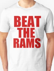 San Francisco 49ers - BEAT THE RAMS - Red Text Unisex T-Shirt
