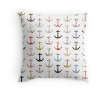 Vintage retro sailor girly floral nautical anchors Throw Pillow
