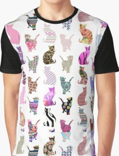 Girly Whimsical Cats aztec floral stripes pattern Graphic T-Shirt