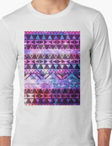 Girly Andes Aztec Pattern Pink Teal Nebula Galaxy Long Sleeve T-Shirt