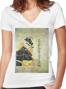 Vintage poster - French Exposition Women's Fitted V-Neck T-Shirt