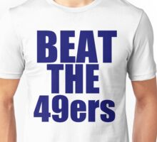 Seattle Seahawks - BEAT THE 49ers - Blue Text Unisex T-Shirt