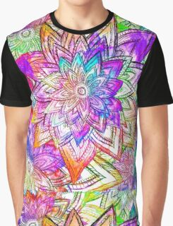 Colorful Vintage Floral Pattern Drawing Watercolor Graphic T-Shirt