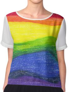 Colored pencil rainbow on textured paper Chiffon Top