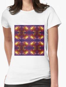 Pink Dahlia flower pattern Womens Fitted T-Shirt