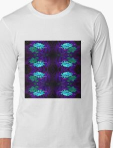 Blue on Blue flowers pattern Long Sleeve T-Shirt