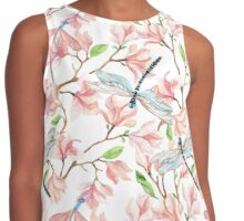 Dragonflies and Pink Magnolia Flowers Contrast Tank