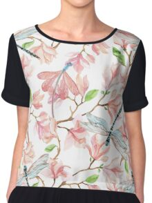 Dragonflies and Pink Magnolia Flowers Chiffon Top