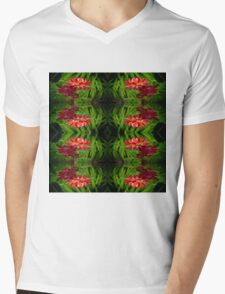 Flowers of red Mens V-Neck T-Shirt
