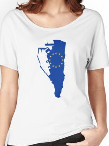 European Union Flag Map of Gibraltar Women's Relaxed Fit T-Shirt