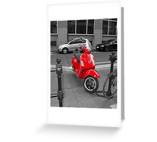 Red Moped Greeting Card