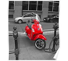 Red Moped Poster