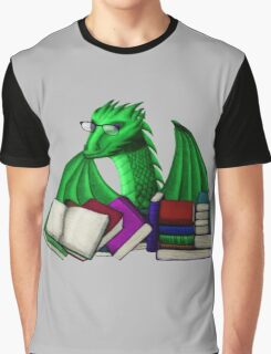 Green Dragon with Book Hoard Graphic T-Shirt