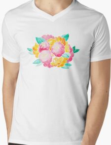 Pink and Yellow Roses Mens V-Neck T-Shirt