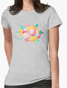 Pink and Yellow Roses Womens Fitted T-Shirt