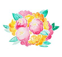 Pink and Yellow Roses Photographic Print