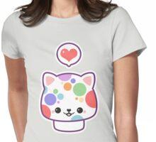 Cute Mushroom Cat Womens Fitted T-Shirt
