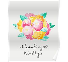 Pink and Yellow Roses - Thank You Poster
