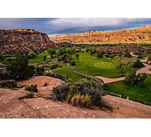 Moab Desert Canyon Golf Course At Sunrise Photographic Print