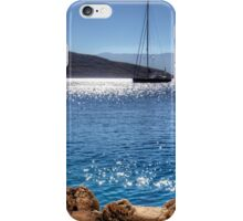 Yacht in front of Nissaki iPhone Case/Skin