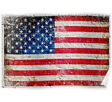 Distressed American Flag On Old Brick Wall - Horizontal Poster