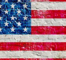 Distressed American Flag On Old Brick Wall - Horizontal Sticker
