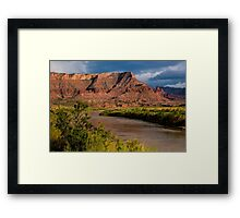 Fisher Towers and Colorado River near Sunset - Utah Framed Print