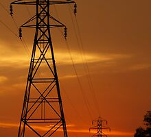 sunset power lines by ctaylor62930