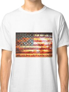American Flag On Rusted Riveted Metal Door Classic T-Shirt