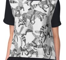 woodland fox party black white Chiffon Top