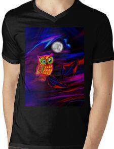 Neon Owl Thunderstorm Flash Mens V-Neck T-Shirt