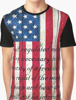 Vintage American Flag And 2nd Amendment On Old Wood Planks Graphic T-Shirt